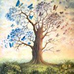 Cubierto de mariposas, el árbol muerto, florece